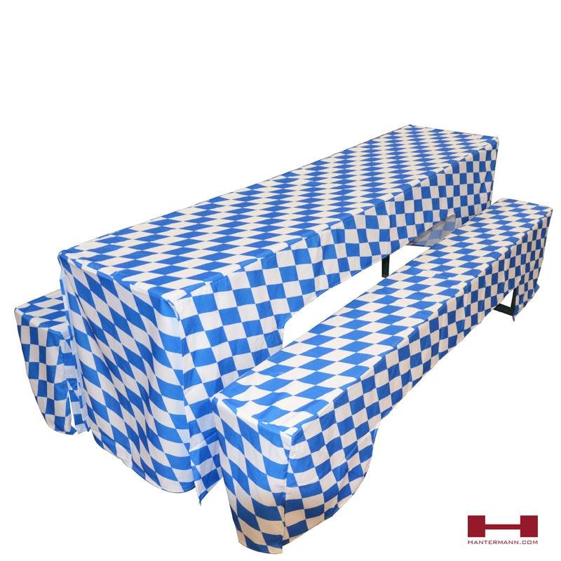 Oktoberfest Festzeltgarnitur klassisch mit weiß-blauer bayerischer Raute
