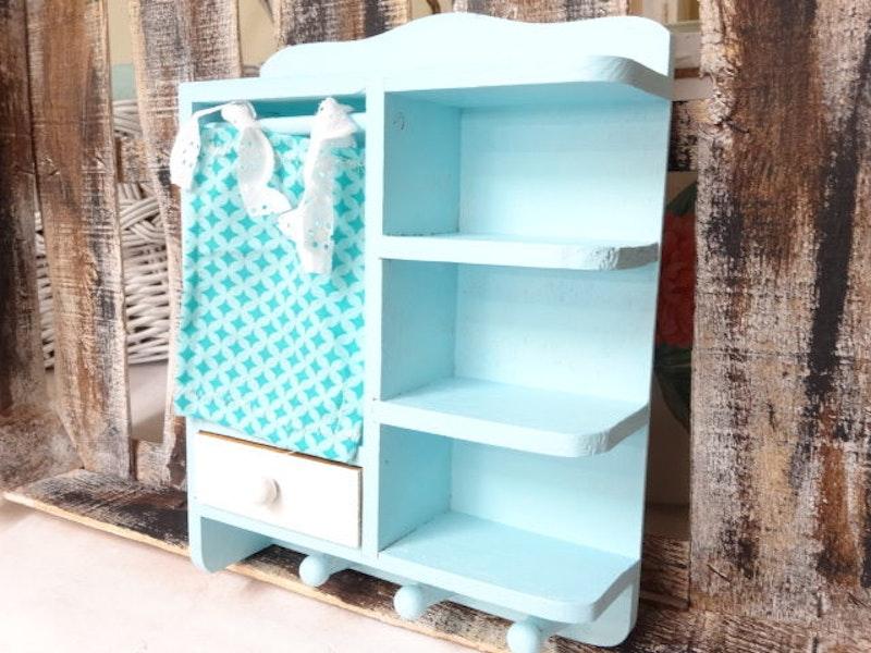 kleines Regal Vintage blau Küche
