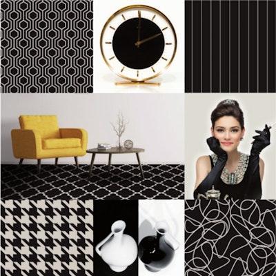 Hotelteppichboden ART DECO schwarz-weiß