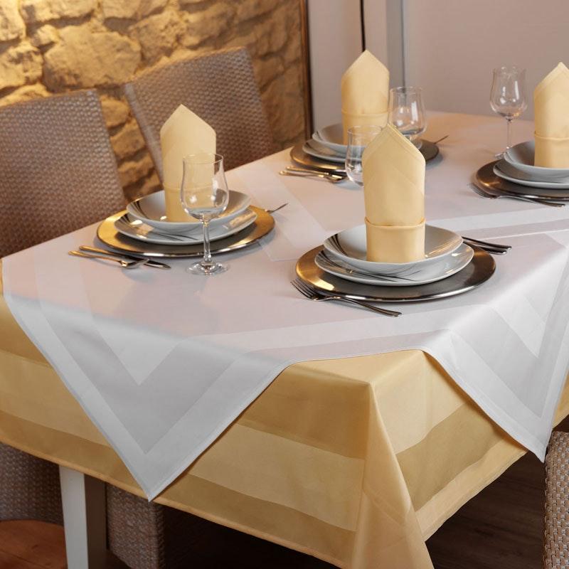 Vollzwirn-Tischwäsche PICO, Atlaskante, feinfädig weiß / farbig ab 1,14 EURO