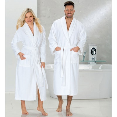 Schalkragen Super-Soft-Velours-Bademantel MERAN weiß