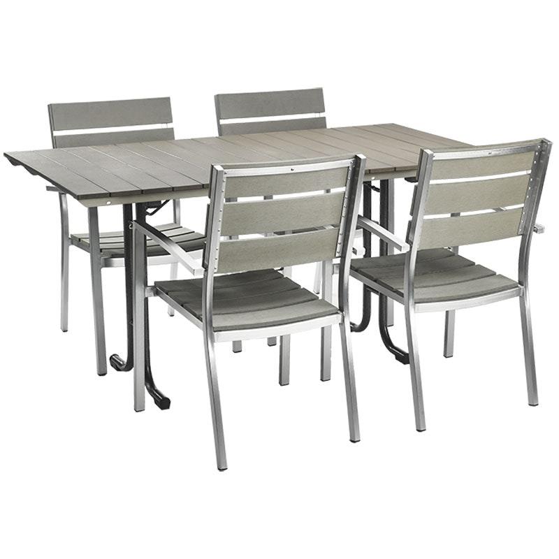 NIMES Tischset: 1 Tisch + 4 Stapelsessel
