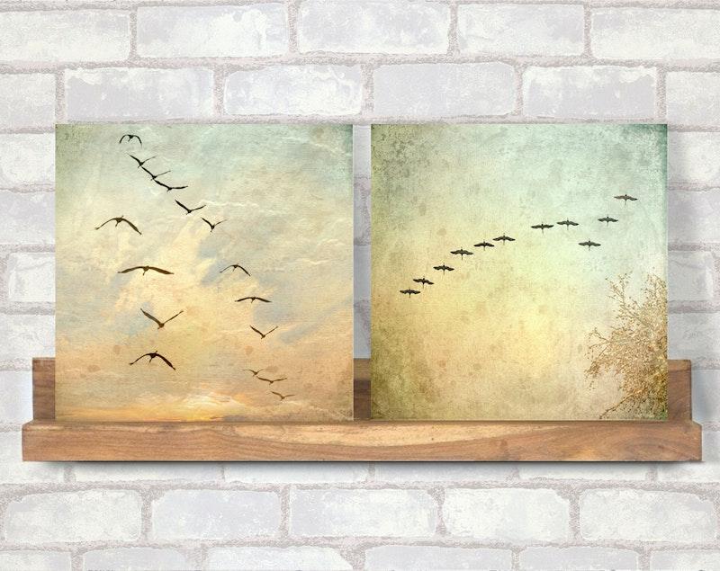 Birds *Kraniche - Duo* Wandbilder im Landhausstil, 2er Set