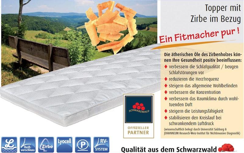 zirbe matratzentopper mit latexkern 9 cm. Black Bedroom Furniture Sets. Home Design Ideas