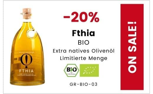 SALE - 20% Rabatt auf Fthia BIO natives Olivenöl extra