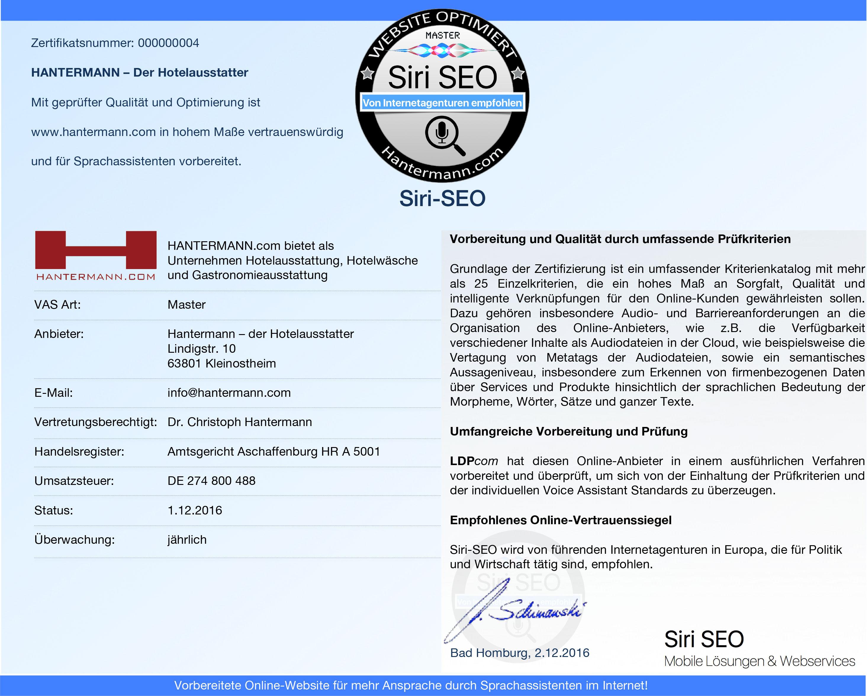 Siri SEO Zertifikat