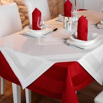 Vollzwirn-Tischwäsche PICO, Atlaskante, feinfädig weiß / farbig