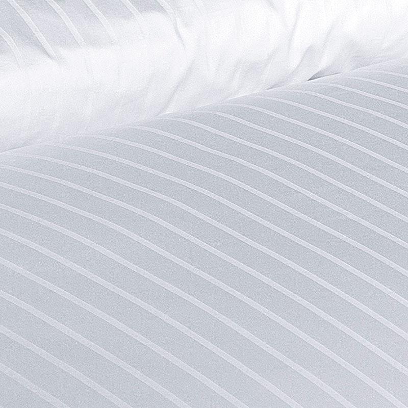 Garnitur 6/24mm Streifensatin Damast-Bettwäsche Baumwolle weiß