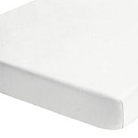 MALAGA 190 Single-Jersey Spannbetttuch weiß, gelb gesäumtes Feinrippband