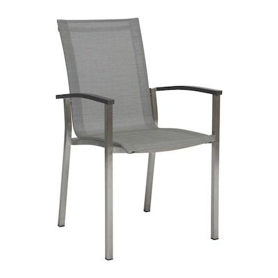EVOEE Stapelsessel (Stern Möbel): Edelstahl Bezug silbern